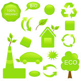 Set ECO and BIO components. Symbols and buttons on ECO theme for Your design Royalty Free Stock Photo
