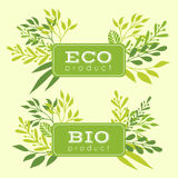 Set of eco and bio floral stickers, banners Royalty Free Stock Photo