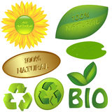 Set of eco and bio icons. Set of 100% naturaland eco icons, Ai 8 Royalty Free Stock Images