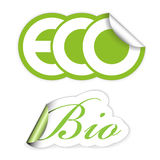 Set of eco and bio labels Stock Images