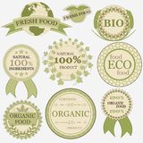 Set of eco bio natural labels in retro vintage style Stock Images