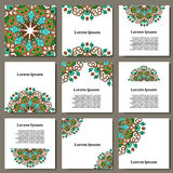 Set of eco brochures and flyers.  Cards with flowers for your design on ecology business Stock Photo