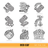 Set of Eco Car Outline Web Icons Royalty Free Stock Photos