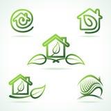 Set eco domu ikony Obrazy Royalty Free