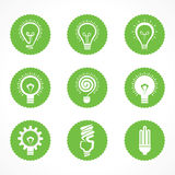 Set of eco electric bulb symbols and icons.  Royalty Free Stock Image