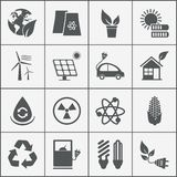 Set of eco energy icons. With wind nuclear and solar power electric car recycling eco light bulb maize biofuel rechargeable battery photovoltaic panel wind Stock Illustration