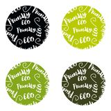 Set of ECO friendly green Set of green labels and badges with leaves for eco friendly products. Set of ECO friendly green Royalty Free Stock Images