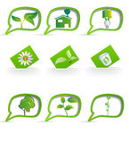 Set of eco-friendly items on the labels Stock Photo