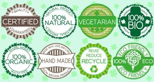 Set of eco friendly labels and stamps Stock Photos