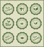 Set of eco green badges. Organic food, beverage Royalty Free Stock Photos