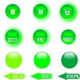 Set eco green buttons Royalty Free Stock Photo