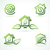 Set of eco home icons Royalty Free Stock Images