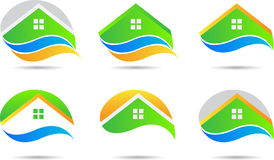 Set of eco homes. A drawing represents set of eco homes design stock illustration