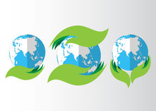 Set of eco icon with earth. Royalty Free Stock Image