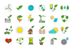 Set of eco  icons. Set of 24 eco  icons Royalty Free Stock Photos