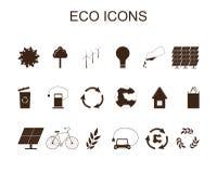 Set of eco icons. Brown symbols Stock Photo