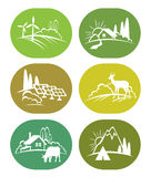 Set of eco icons. Set of eco icons - green nature, adventure with travel tent, wild deer, farm with cow and solar panel Stock Photos