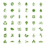 Eco icons big set. Set of eco icons. Problems of ecology and environment, renewable energy, eco friendly industry Royalty Free Stock Photo