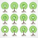 Set of eco icons on tree. Stock vector Stock Image