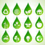 Set of eco icons. On water drops stock vector Stock Photos