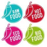 Set Eco jedzenia odznaki Surowy, Gorący, Eco i Życiorys jedzeniu, Wektorowa ręka rysujący znaki Obrazy Stock