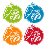 Set Eco jedzenia odznaki Weganin, Organicznie, Naturalny, i świeża żywność Obrazy Royalty Free