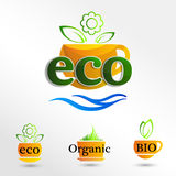 Set  Eco logos, design template elements, natural icon. Organic icon Stock Images