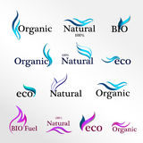 Set  Eco logos, design template elements, natural icon. Organic icon Royalty Free Stock Images
