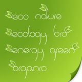 Set of eco logos on paper. Stock Photography