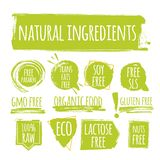 Set of eco natural ingredients label, round grunge logo, sticker for natural products packaging. Vector illustration for your design vector illustration