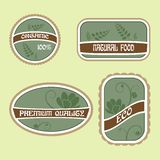 Set of Eco Natural Labels Stock Image