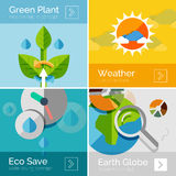 Set of eco nature flat design concepts, banners Royalty Free Stock Photos