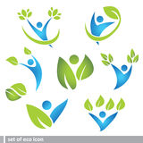 Set of eco and people icon Stock Photos