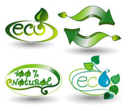 Set of Eco Stickers and Badges Royalty Free Stock Images