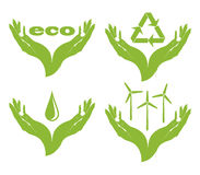 A set of eco symbols  in female hands. Royalty Free Stock Photos
