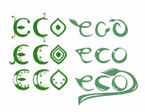 Set eco words. Set of six eco words/text with leafs royalty free illustration
