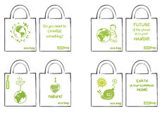 Set of ecological bags Royalty Free Stock Photography