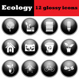 Set of ecological glossy icons Royalty Free Stock Photo