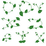 Set of ecological leaf arrow on white background. For use as logos on cards, in printing, posters, invitations, web design and other purposes Royalty Free Illustration