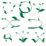 Set of ecological leaf arrow on white background Stock Photography