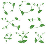 Set of ecological leaf arrow on white background Royalty Free Stock Images