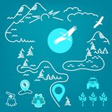 A set of ecological signs, map, mountains, forest, cutting, stump, bird, location, group of people. stock illustration