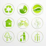 Set of ecological signs and symbols. Stock Photo