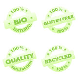 Set of ecological stamps. Set of four green ecological stamps isolated in white background Stock Photo