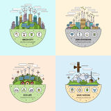 Set of ecology concept illustrations in thin line flat style Royalty Free Stock Image