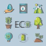 Set ecology conservation and environment care concept. Vector illustration Stock Images