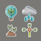 Set ecology conservation and environment care concept. Vector illustration Royalty Free Stock Photography