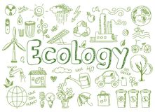Set of ecology, ecology problem and green energy Stock Photography