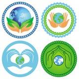 Set of ecology emblems Stock Photos