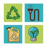Set ecology environment recycle conservation nature icons. Vector illustration vector illustration